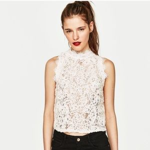 Zara Trafaluc White Lace Crop Top with Exposed Zip